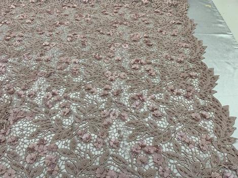Light Pink - Double 3D Flowers Beaded Lace By The Yard/Embroider Heavy Beaded Guipur Lace Fabric// Floral Flower Bridal Lace/Wedding Lace/Gowns - IceFabrics