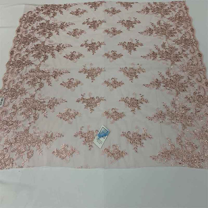 Pink - Embroidered Bridal Fabric Mesh Lace Floral Flowers Fabric Sold by the Yard - IceFabrics
