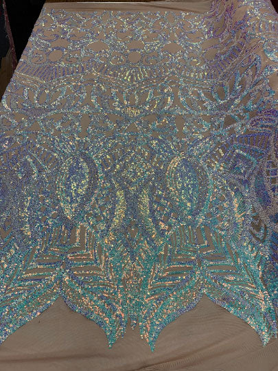 Sky Blue on Nude Mesh - London Design 4 WAY Stretch Sequins Fabric Spandex - IceFabrics