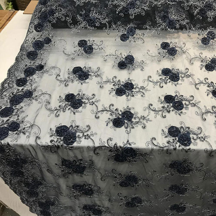 Navy Blue - Embroidered Mesh Lace Flower Design With Sequins Fabric - IceFabrics