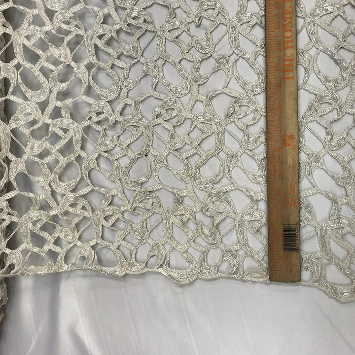 Ivory - Design Beaded Mesh Lace Fabric Bridal Wedding Clothes - IceFabrics