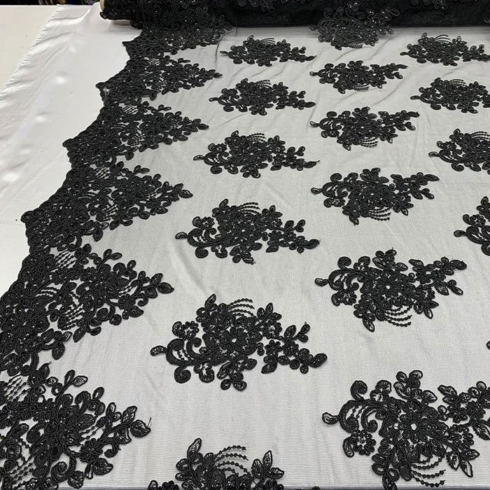 Black - Embroidered Mesh lace Floral Design Fabric With Sequins By The Yard - IceFabrics
