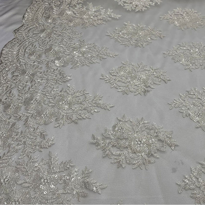 White - Embroidered Corded Metallic Flowers On Mesh Lace Fabric With Sequins - IceFabrics
