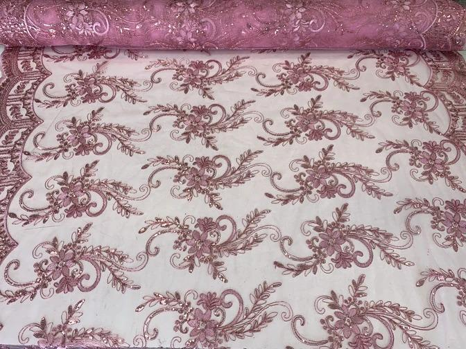 Pink - Metallic Flowers Sequins On A Mesh Lace Fabric// Lace By The Yard//Floral Embroider Lace Tablecloths,Costumes,Decorations,Runners - ICEFABRICS