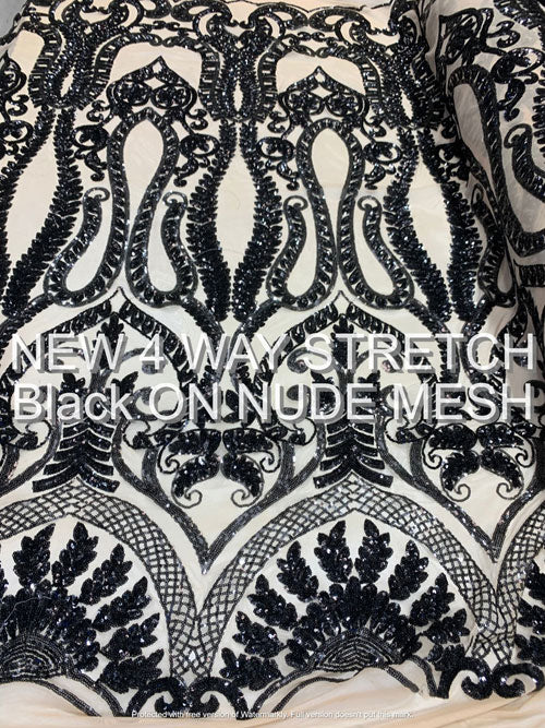 Black ON A Nude Mesh - Geometric Sequins Spandex 4 Way Stretch Fabric - IceFabrics