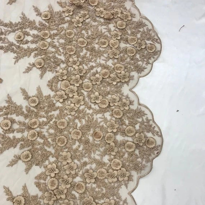 Taupe - Bridal \ Wedding Beaded Mesh Lace Fabric - IceFabrics