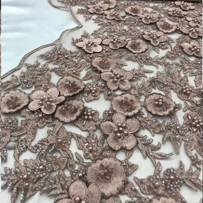 Mauve - Bridal \ Wedding Beaded Mesh Lace Fabric - IceFabrics