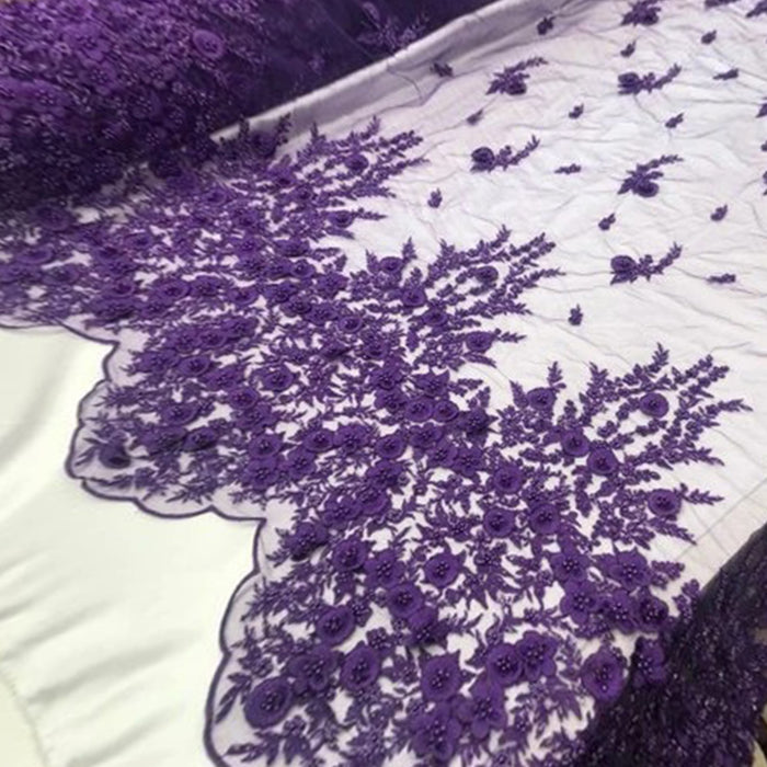 Purple - Bridal \ Wedding Beaded Mesh Lace Fabric - IceFabrics