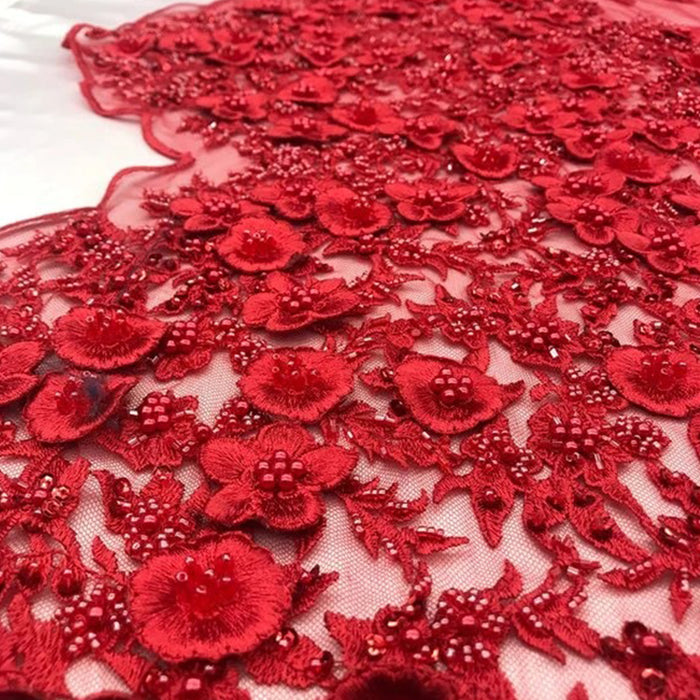 Red - Bridal \ Wedding Beaded Mesh Lace Fabric - IceFabrics