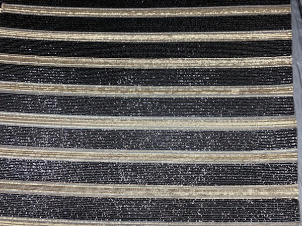 Silver&Black- Elegant NEW Casino Design//Fabric Embroidery Sequins 4 Way Stretch Nude Mesh Spandex//Stretchy Spandex Sequins Fabric By Yard - IceFabrics