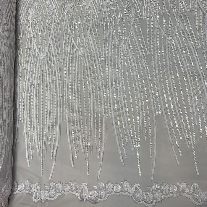 White - Corded 3D Flowers/Floral Mesh Lace Sequins Fabric By The Yard For Gowns, Skirts, Prom Dresses - ICE FABRICS