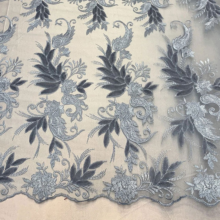Blue - FAST SHIPPING/ Mesh Lace Fabric Sold By The Yard Floral/Flowers Sequins Stretch Embroidered Handmade Lace/Tablecloths/ Dress For Decorations, Skirts, Runners, Tablecloths - IceFabrics
