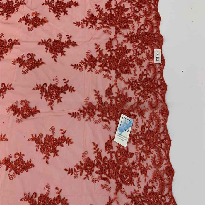 Red Lace - Embroidered Bridal Fabric Mesh Lace Floral Flowers Fabric Sold by the Yard - IceFabrics