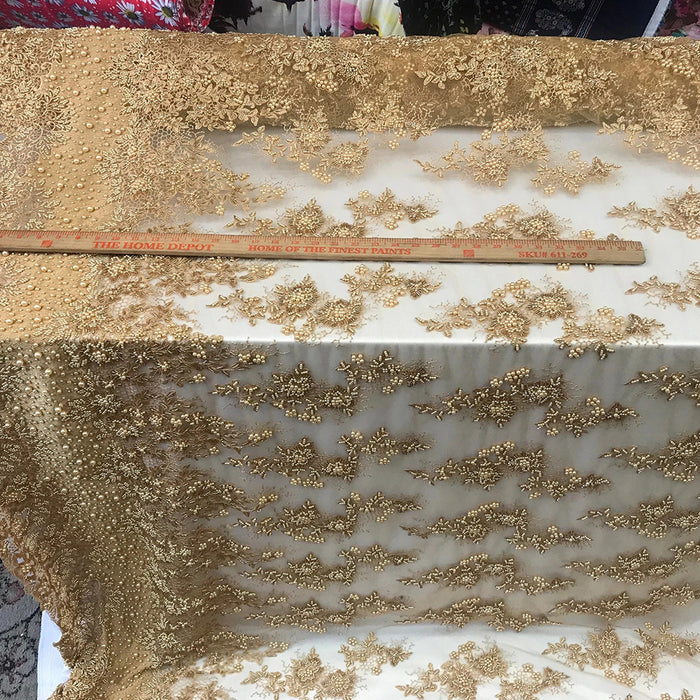 Gold - Designed Beaded Mesh Lace Fabric By The Yard - IceFabrics