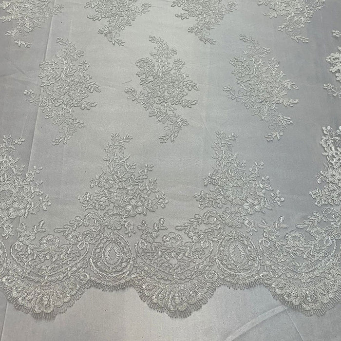White - French Design Floral Mesh Lace Embroidery Fabric - IceFabrics