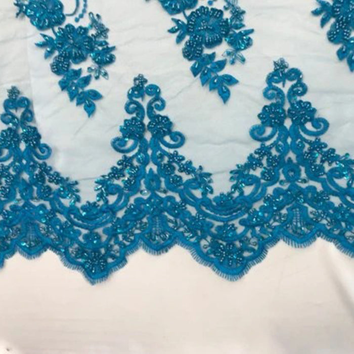 Turquoise - Fashion Wedding Dress Sequins Beaded Bridal Mesh Lace - IceFabrics