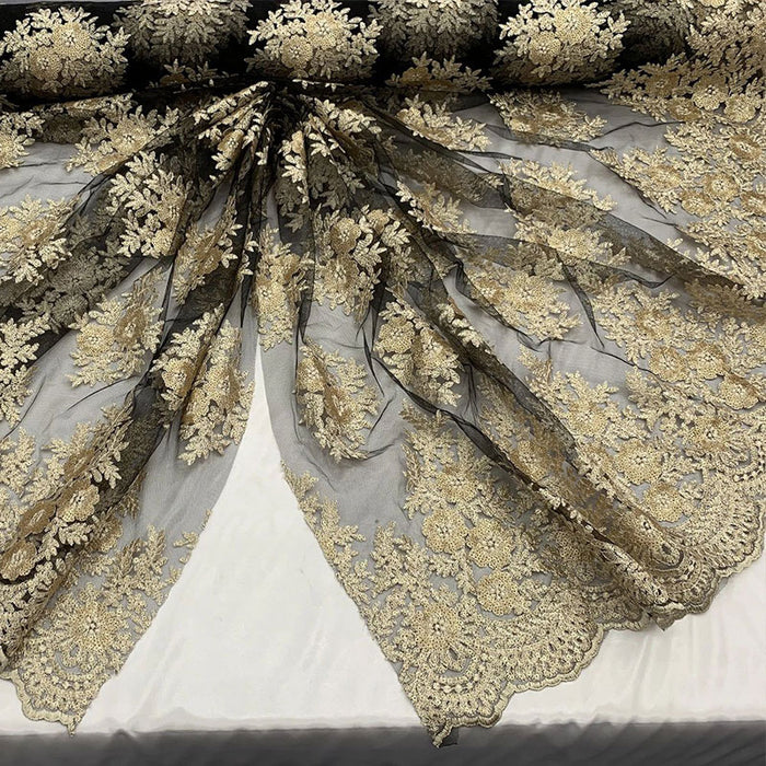 Black/Gold - Embroidered Corded Metallic Flowers On Mesh Lace Fabric With Sequins - IceFabrics