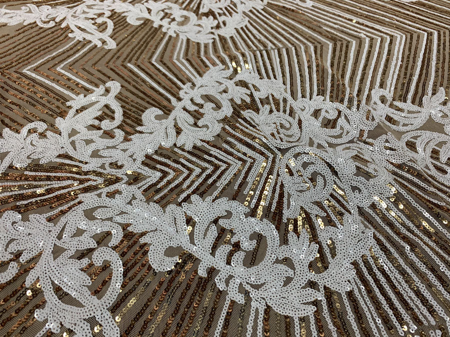 White Gold On Gold Mesh - Nadia 4 Way Stretch Sequins Spandex Embroider Fabric - IceFabrics