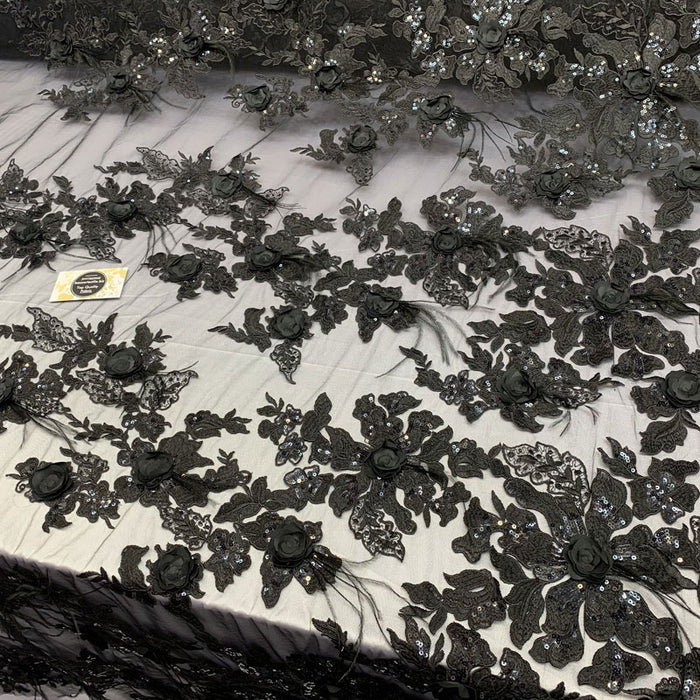 Black - Burgundy - 3D Luxury Feather Design Floral Mesh Lace With Sequins Embroidery By The Yard - ICE FABRICS