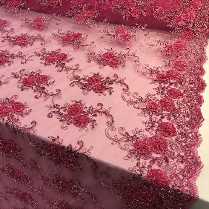 Fuchsia - Embroidered Mesh Lace Flower Design With Sequins Fabric - IceFabrics