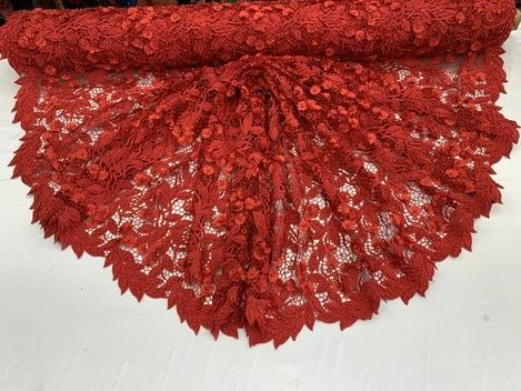 Red - Double 3D Flowers Beaded Lace By The Yard/Embroider Heavy Beaded Guipur Lace Fabric// Floral Flower Bridal Lace/Wedding Lace/Gowns - IceFabrics