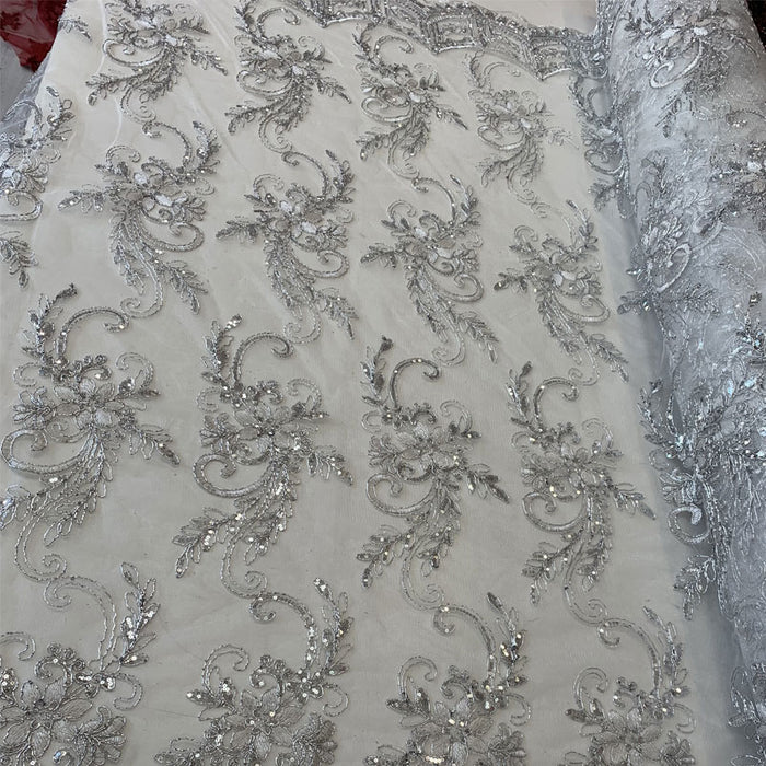 Silver - Metallic Flowers Sequins On A Mesh Lace Fabric// Lace By The Yard//Floral Embroider Lace Tablecloths,Costumes,Decorations,Runners - ICE FABRICS