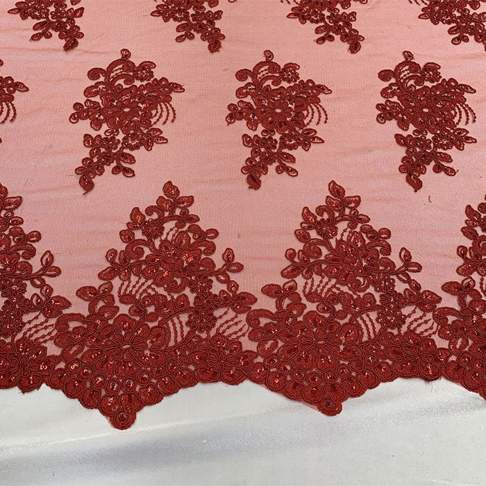Red - Embroidered Mesh lace Floral Design Fabric With Sequins By The Yard - IceFabrics