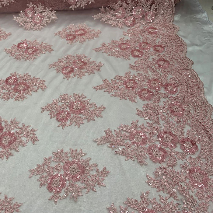 Dusty Rose - Embroidered Corded Metallic Flowers On Mesh Lace Fabric With Sequins - IceFabrics