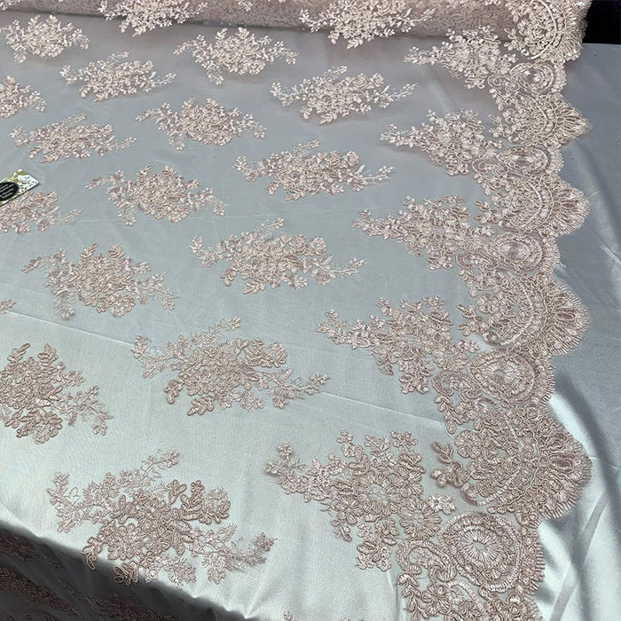 Light Pink - French Design Floral Mesh Lace Embroidery Fabric - IceFabrics