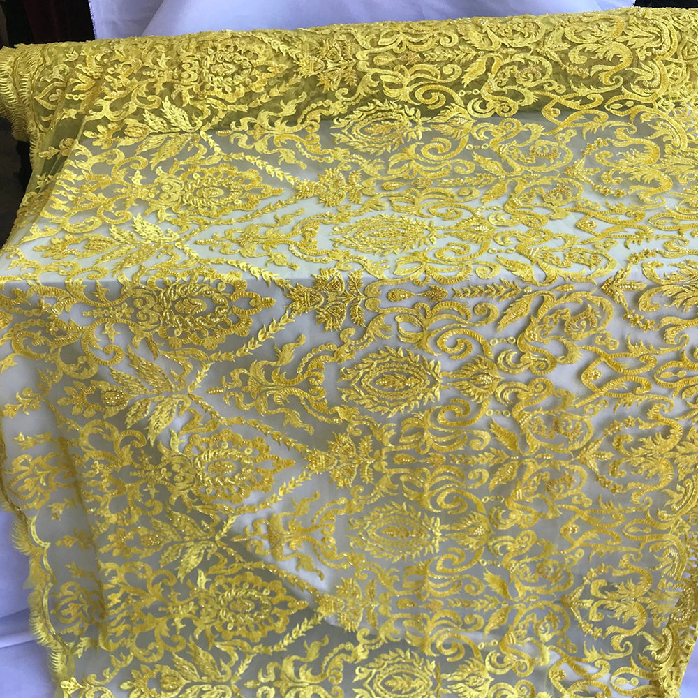 Yellow - Lace By The Yard Embroidered Lace With Beads And Sequins French Bridal Veil Wedding Decoration Home tablecloths women fashion dress - IceFabrics
