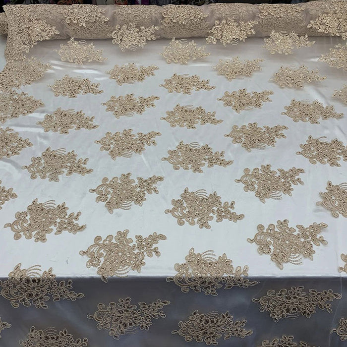 Champagne - Embroidered Mesh lace Floral Design Fabric With Sequins By The Yard - IceFabrics