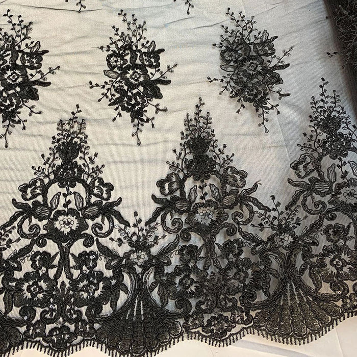 Black - Hand Made Mesh Lace Embroidery Fabric By The Yard (Dusty Rose, Pink) Flowers/Floral Lace Soft Mesh For Tablecloths,Runners,Skirts,Costumes - IceFabrics