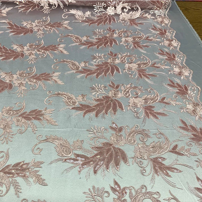 Pink - FAST SHIPPING/ Mesh Lace Fabric Sold By The Yard Floral/Flowers Sequins Stretch Embroidered Handmade Lace/Tablecloths/ Dress For Decorations, Skirts, Runners, Tablecloths - IceFabrics