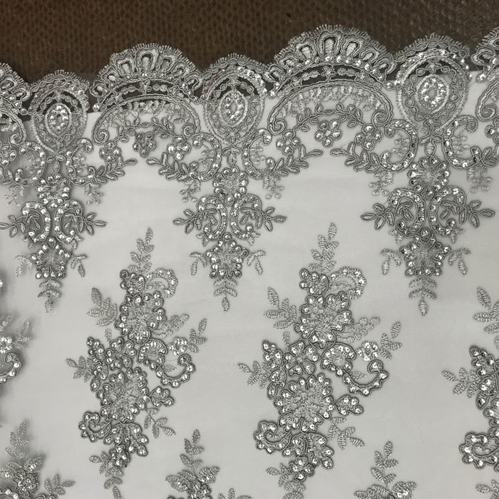 Silver - Modern flower design embroider on mesh with sequins and metallic cord-prom-nightgown-decorations-sold by the yard prom wedding decor - IceFabrics