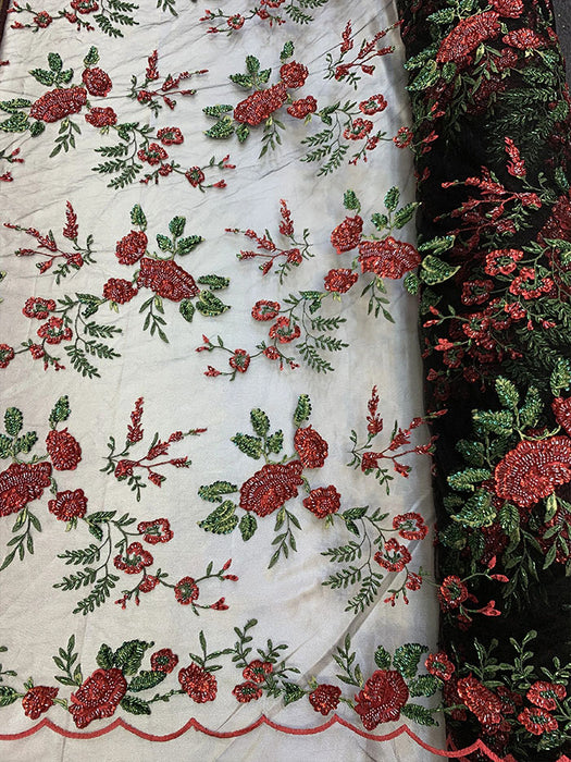 Red Flowers On Nude Mesh - 3D BEADED Flowers Bridal Beaded Mesh Lace Fabric By The Yard//  Fabric Floral Pattern Embroidered Lace With beads - IceFabrics