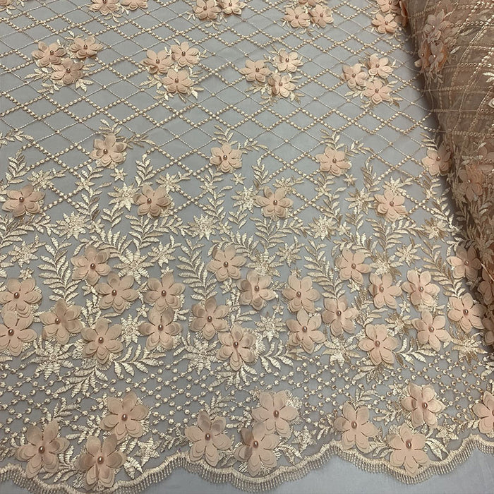Peach - 3D Floral Pearl Beaded Embroidery Lace Fabric Mesh Fabric - IceFabrics