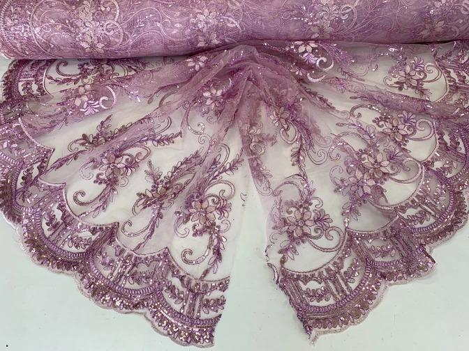 Lilac - Metallic Flowers Sequins On A Mesh Lace Fabric// Lace By The Yard//Floral Embroider Lace Tablecloths,Costumes,Decorations,Runners - ICE FABRICS