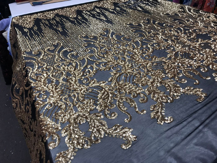 Gold Luxury Design 4 Way Stretch Sequins Fabric By The Yard - IceFabrics