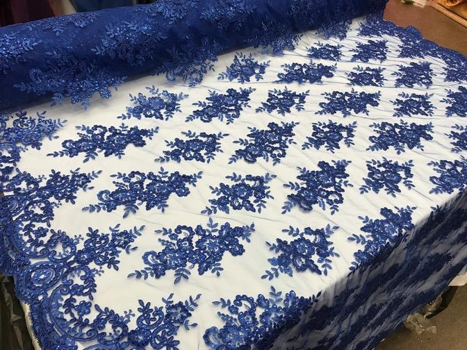 Royal Blue - Modern flower design embroider on mesh with sequins and metallic cord-prom-nightgown-decorations-sold by the yard prom wedding decor - IceFabrics