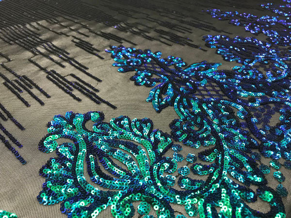 Green Luxury Design 4 Way Stretch Sequins Fabric By The Yard - IceFabrics