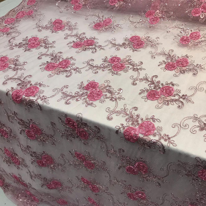 Coral - Embroidered Mesh Lace Flower Design With Sequins Fabric - IceFabrics