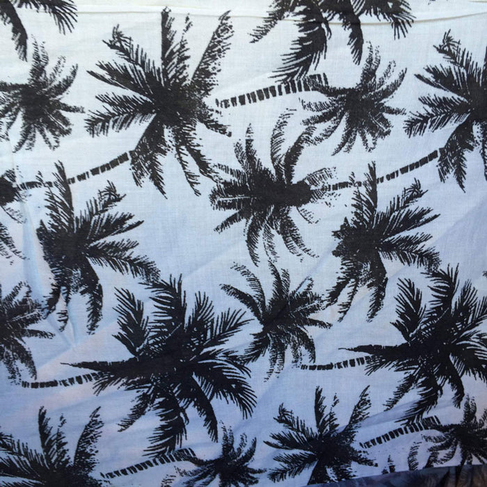 Black - 100% Rayon chally with off white background and palmtrees tropical fabric sold by the yard clothing dress decoration organic kids - IceFabrics