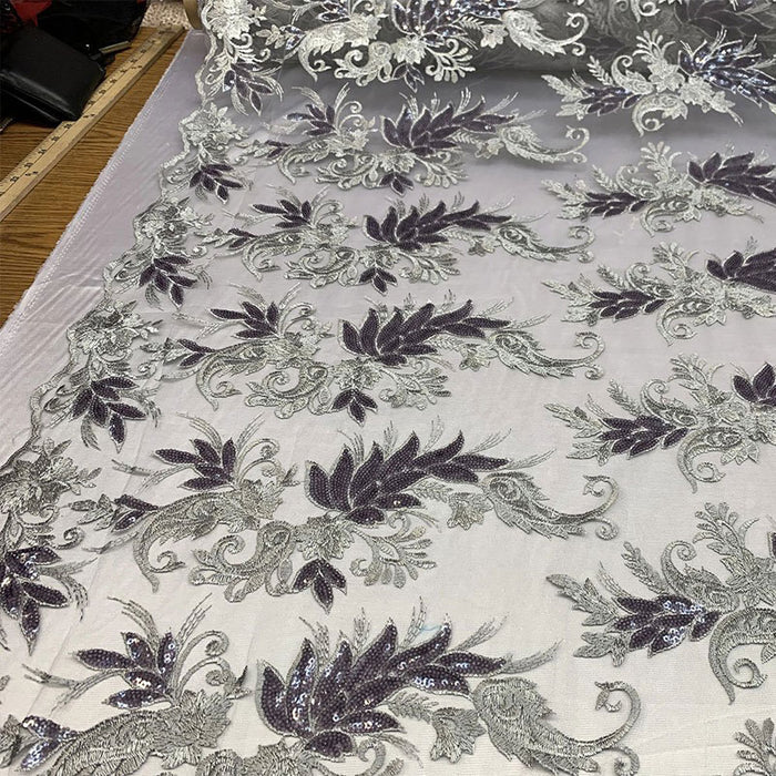 Gray - FAST SHIPPING/ Mesh Lace Fabric Sold By The Yard Floral/Flowers Sequins Stretch Embroidered Handmade Lace/Tablecloths/ Dress For Decorations, Skirts, Runners, Tablecloths - IceFabrics