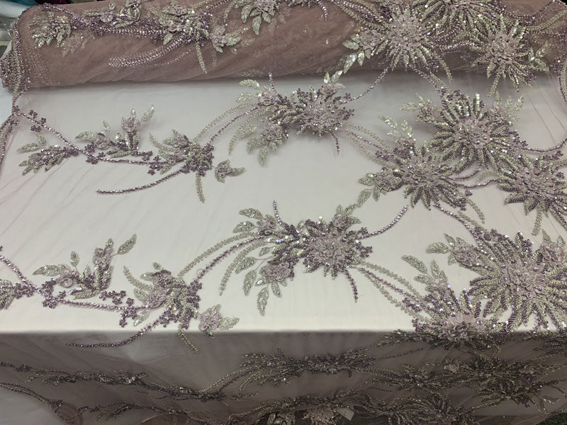 Silver, Purple//French MODERN 3D Flowers Lace//Hand Beading Lace//Mesh Lace Beaded Fabric By the Yard//Designer Luxury Fabric//Embroidery - IceFabrics