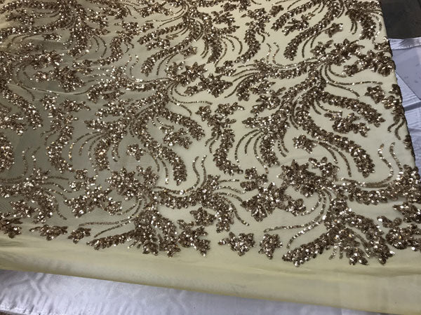 New Design Gold Embroidered 4 Way Stretch Sequin Fabric Sold By The Yard