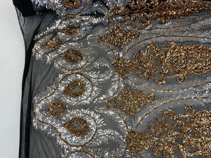 Black&Gold - French Luxury Sequins 4 WAY Stretch Sequins Spandex Power Mesh Lace Fabric Sold By The Yard// Embroidered Floral Lace//Dresses - IceFabrics