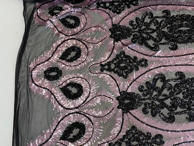 Pink/Black- French Luxury Sequins 4 WAY Stretch Sequins Spandex Power Mesh Lace Fabric Sold By The Yard// Embroidered Floral Lace//Dresses - IceFabrics