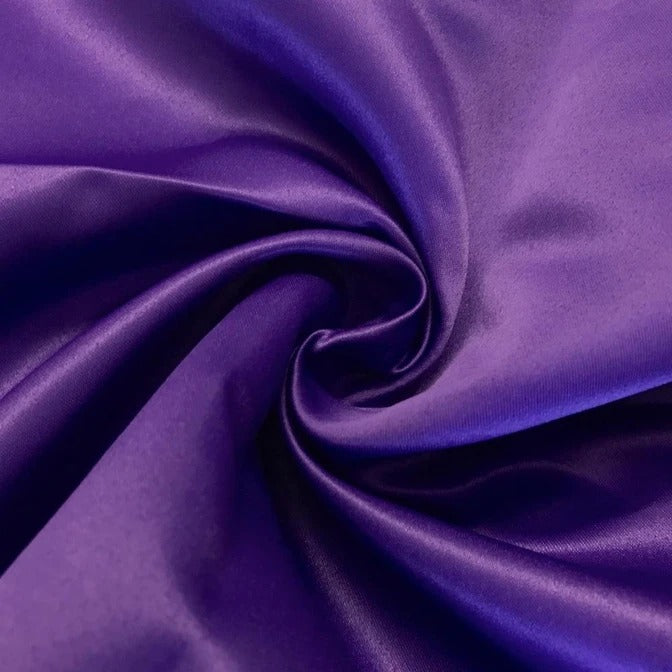 "PURPLE - Matte Satin Fabric 100% Polyester By The Yard  60"" Wide - IceFabrics"