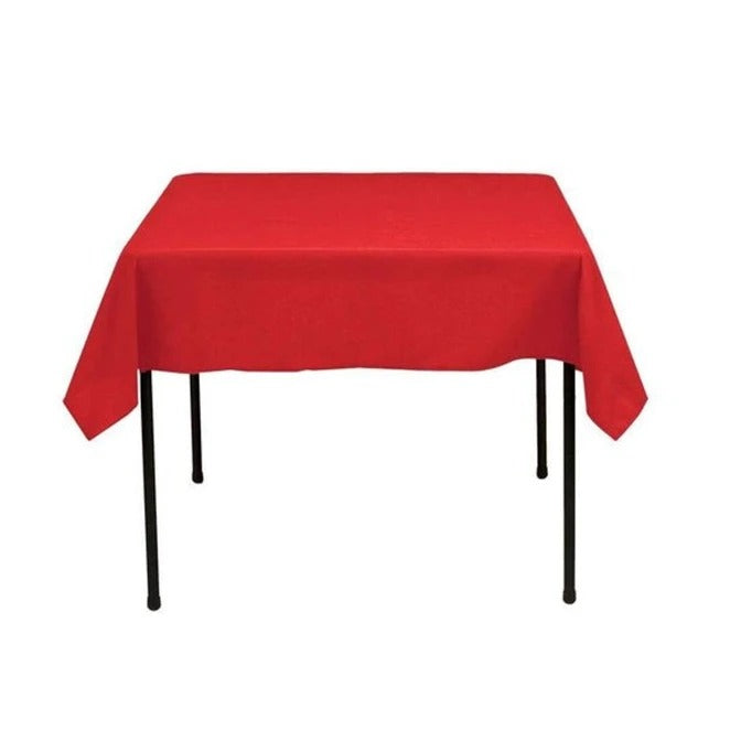 Red - Washable Polyester 60 x 60 Inch Square Tablecloth - IceFabrics