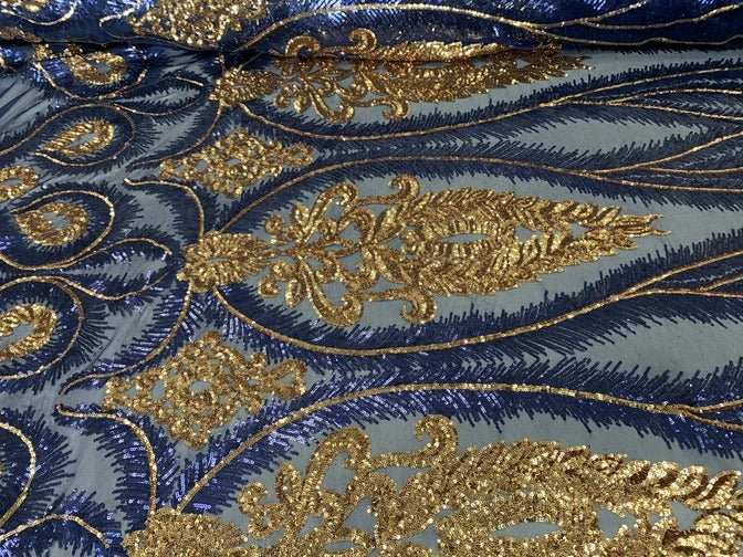 Navy Blue - French Luxury Sequins 4 WAY Stretch Sequins Spandex Power Mesh Lace Fabric Sold By The Yard// Embroidered Floral Lace//Dresses - IceFabrics